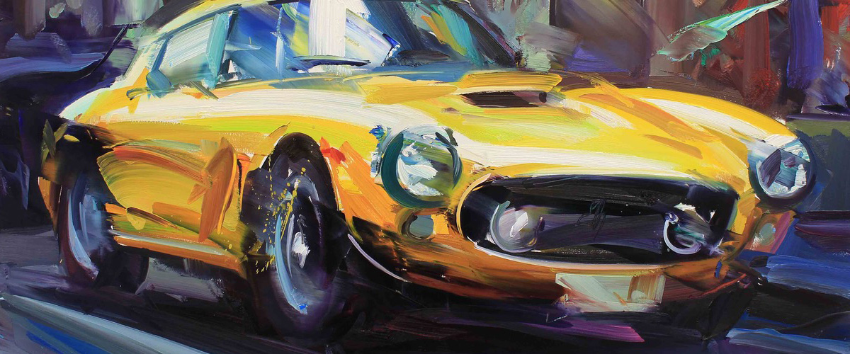 Yellow Ferrari by Paul Wright. Available from Rutland Antiques and Art Centre.