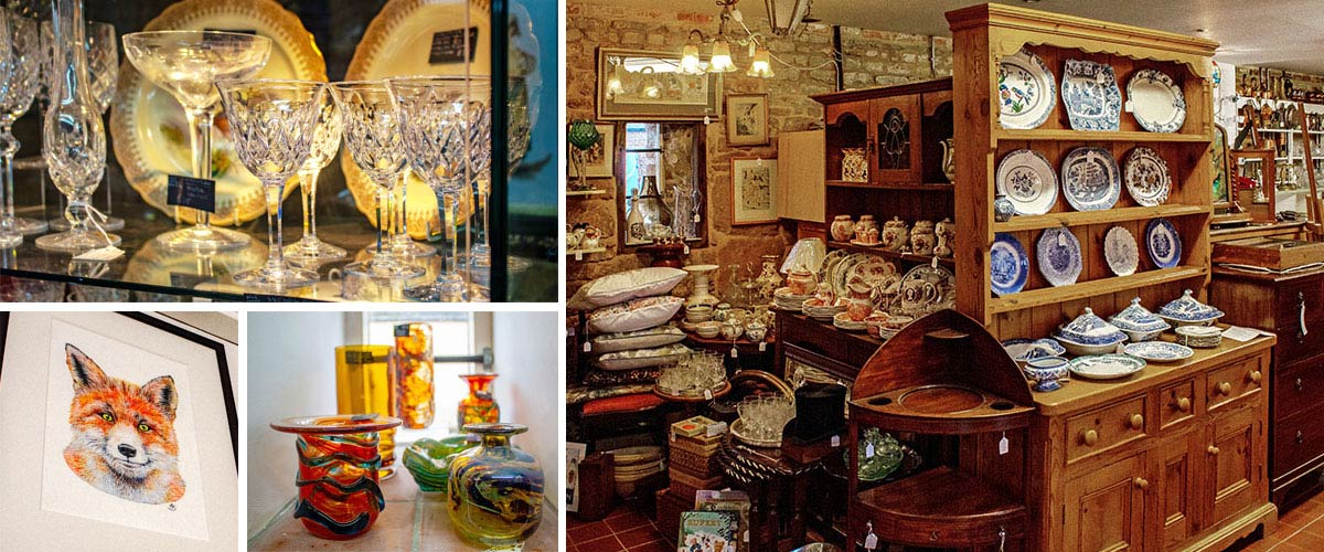 Contemporary art, glassware and furniture are always available at Rutland Antiques and Art Centre